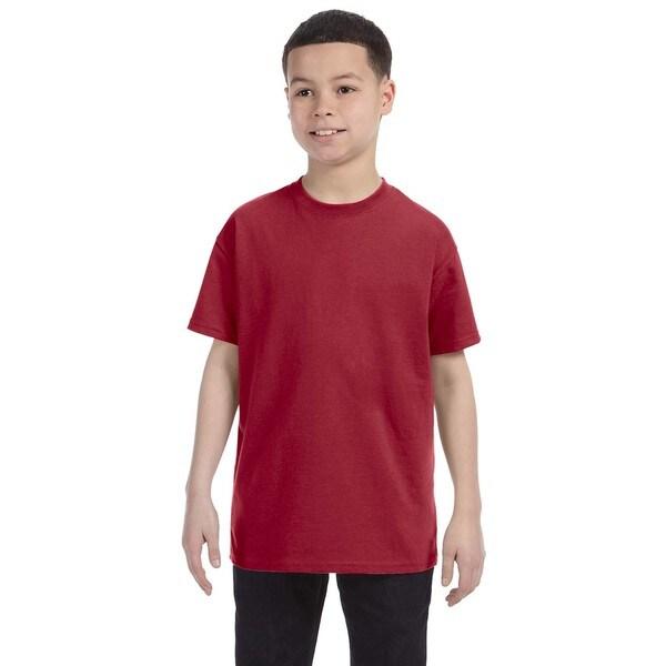 Heavyweight Blend Boys' Crimson Cotton/Polyester T-shirt