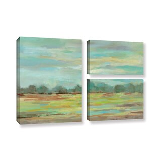 Silvia Vassileva's 'Teal Forest' 3 Piece Gallery Wrapped Canvas Flag Set
