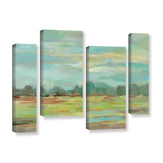 Silvia Vassileva's 'Teal Forest' 4 Piece Gallery Wrapped Canvas Staggered Set