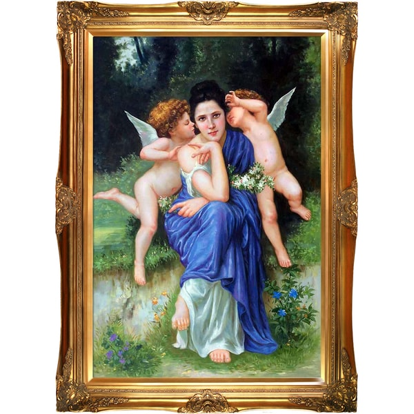 William-Adolphe Bouguereau 'Songs of Spring, 1889' Hand Painted Framed Canvas Art