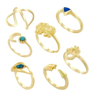 Women's 18k Yellow Goldplated Stackable Decorative Rings (Set of 7)
