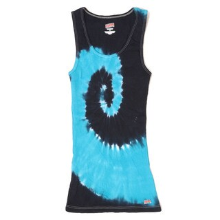 H3000B Boys' Turquoise/Navy Spider Tie-dye 100-percent Cotton Soffe Tank Top