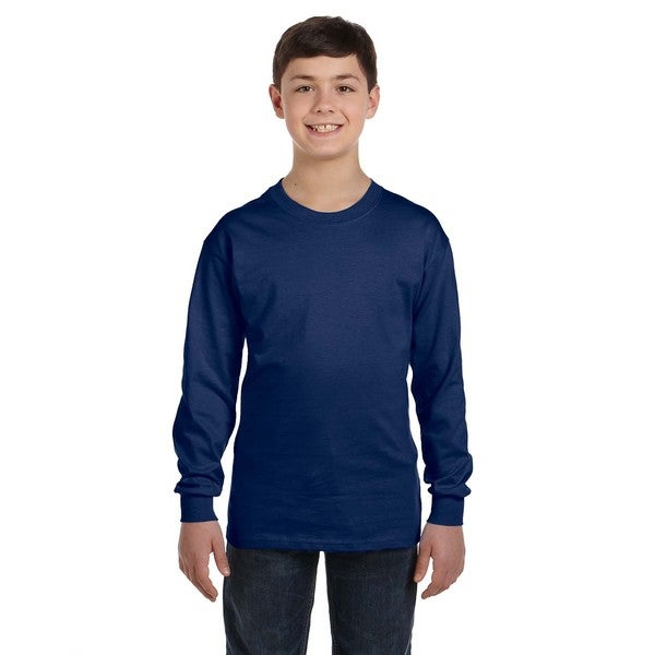 Gildan Boys' Navy Cotton Long-sleeve T-shirt