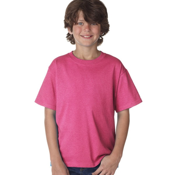 Fruit Of The Loom Boys' Heavy Cotton Boys' Heather Pink Retro T-Shirt