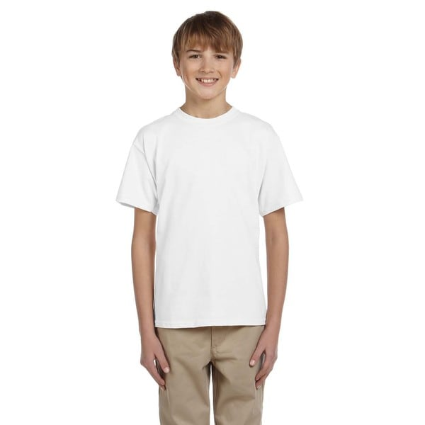 Fruit Of The Loom Boys' Heavy Cotton Heather White T-Shirt