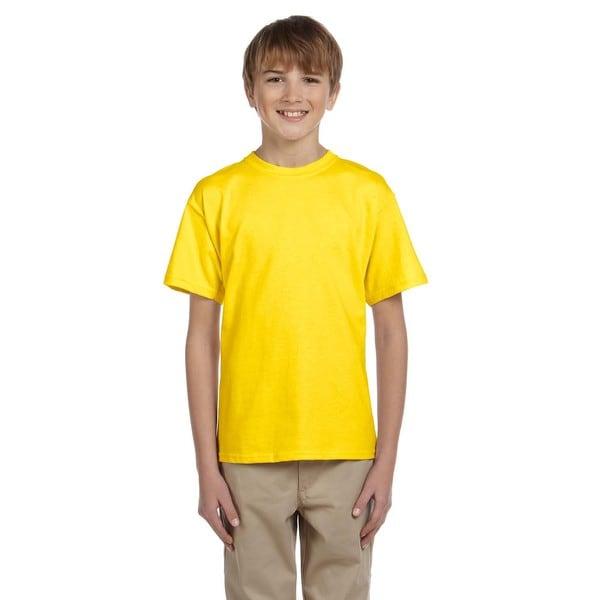 Fruit Of The Loom Boys' Yellow Heavy Cotton Heather T-shirt