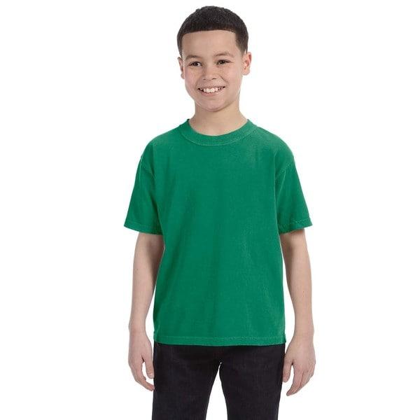 Boys' Green Cotton Garment-Dyed Ring-Spun T-Shirt