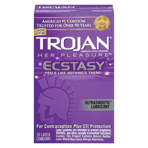 Trojan Her Pleasure Ecstasy Lubricated Condoms (Pack of 10) 19790643