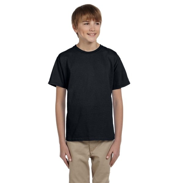 Fruit Of The Loom Boys' Black Heather Heavy Cotton T-shirt