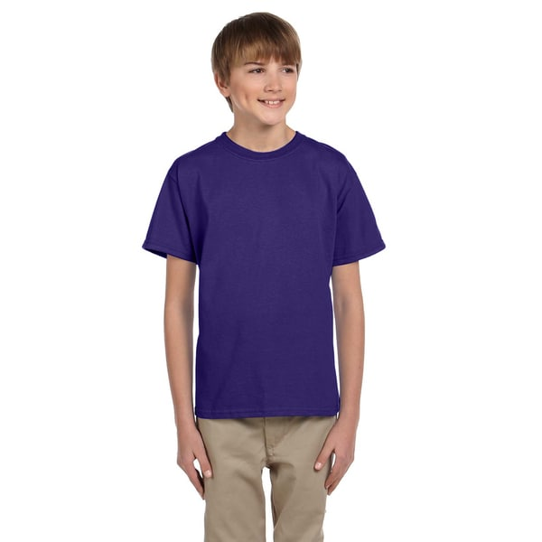 Fruit Of The Loom Boys Purple Heavy Cotton T-shirt