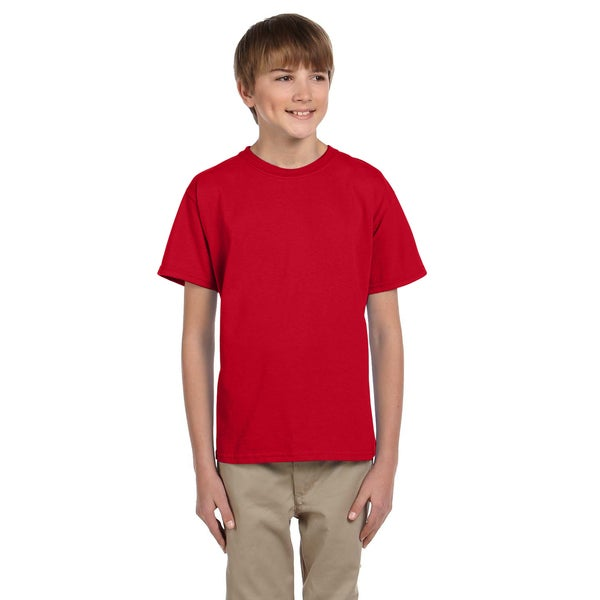 Fruit Of The Loom Boys' Heavy Cotton Heather Fiery Red T-Shirt