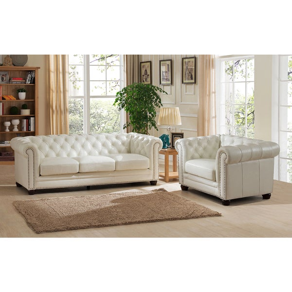 Real Leather Living Room Set: Nashville White Genuine Leather Tufted Chesterfield Sofa