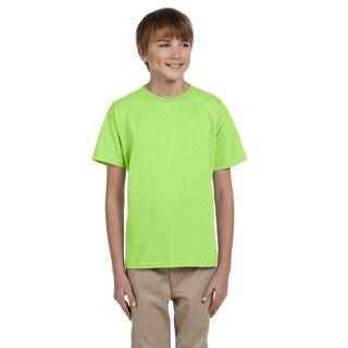 Fruit of the Loom Boys' Neon Green Heavy Cotton Heather T-shirt