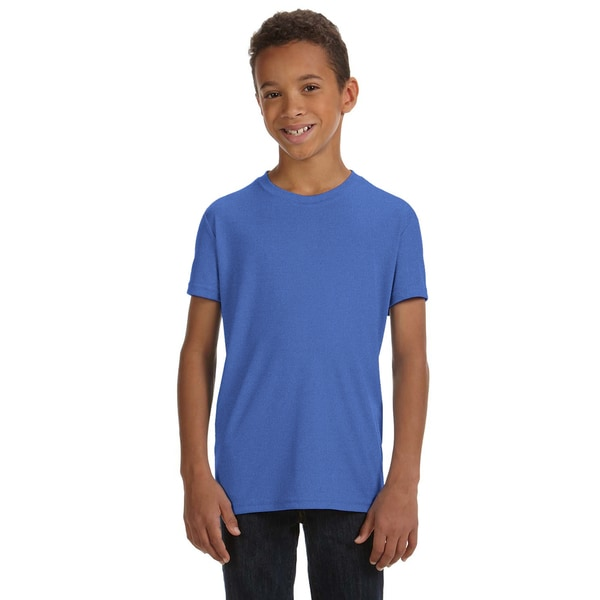 For Team 365 Boys' Royal Blue Heather Performance Short-sleeved T-shirt