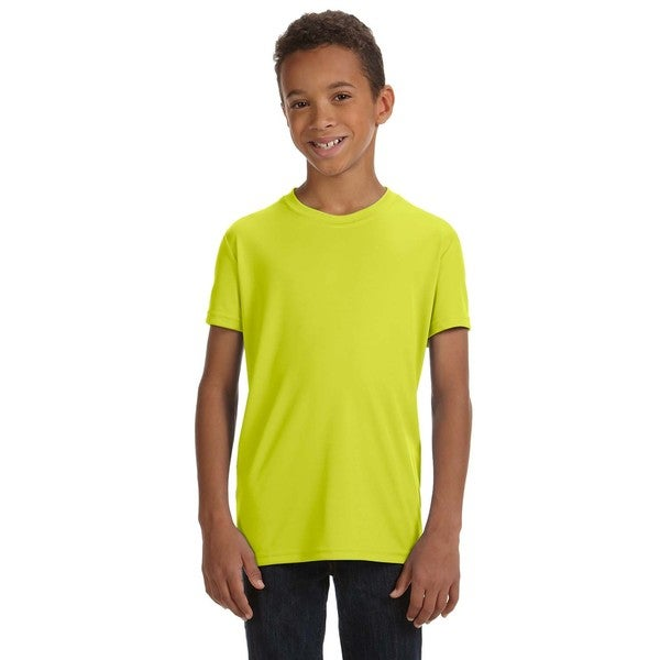 For Team 365 Boys' Safety Yellow Performance Short-sleeved Sport T-shirt
