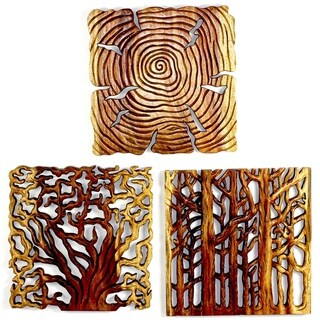 "Handmade Tree Life Wood Wall Panels (Thailand) - 18"" x 18"" x 3"""