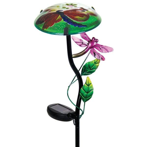 Exhart Solar Mushroom Garden Stake with Dragonfly Design
