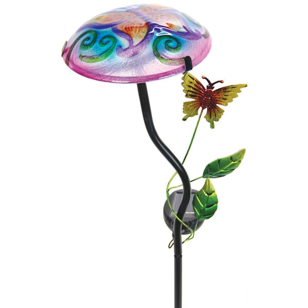 Exhart Multicolored Glass/Metal Solar Mushroom Garden Stake with Butterfly Design