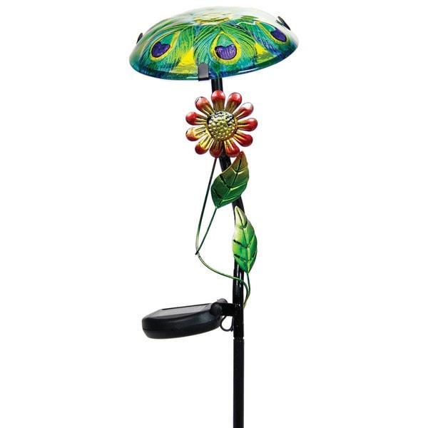 Exhart Peacock-design Solar Mushroom Garden Stake