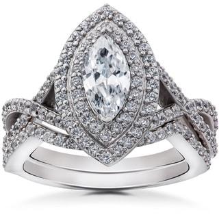 14k White Gold 2 3/8ct TDW Marquise Enhanced Diamond Engagement Double Halo Matching Wedding Ring Set (I-J, I2-I3)