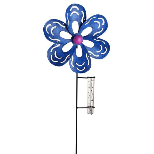 Blue Metal Kinetic Flower with Rain Gauge