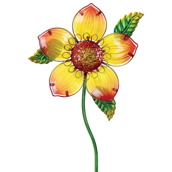 Yellow Glass and Metal Flower Garden Stake