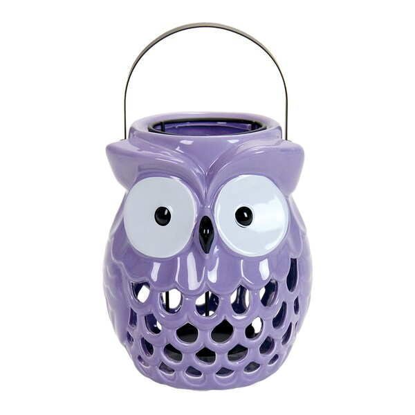 Exhart Purple Ceramic Owl Lantern
