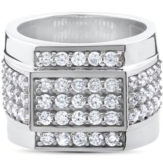 10k White Gold 2ct Men's Diamond 15mm High Polished Flashy Ring (I-J, I2-I3)