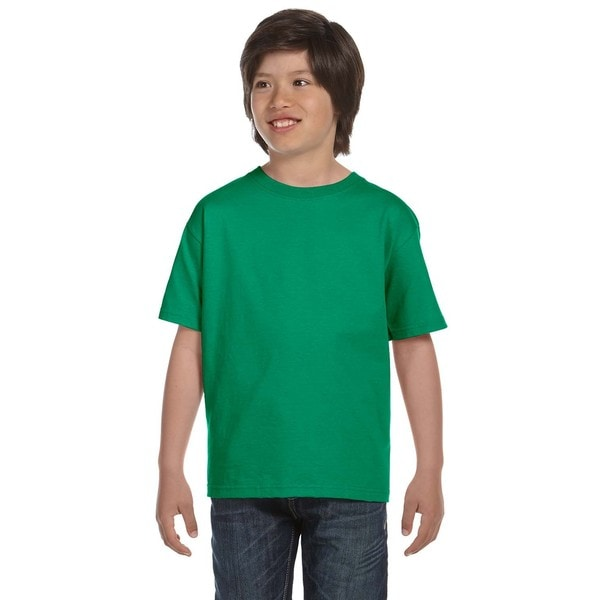 Dryblend Boys' Kelly Green Polyester and Cotton T-shirt