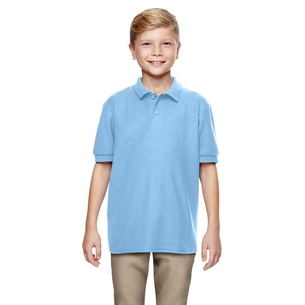 Dryblend Boys' Double Pique Light Blue Cotton-blended Polo Shirt