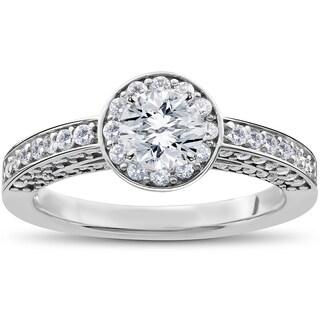 14k White Gold 1ct TDW Diamond Halo Vintage Heirloom Engagement Ring (I,J-I2,I3)