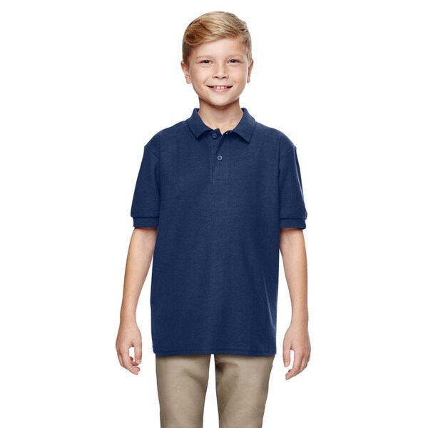 Gildan Dryblend Boys' Navy Double Pique Polo Shirt
