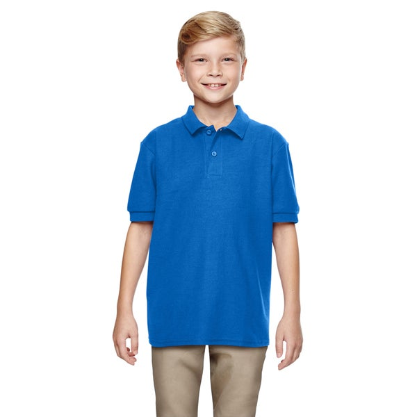 Boys' Royal Blue Dry Blend Double-pique Polo Shirt