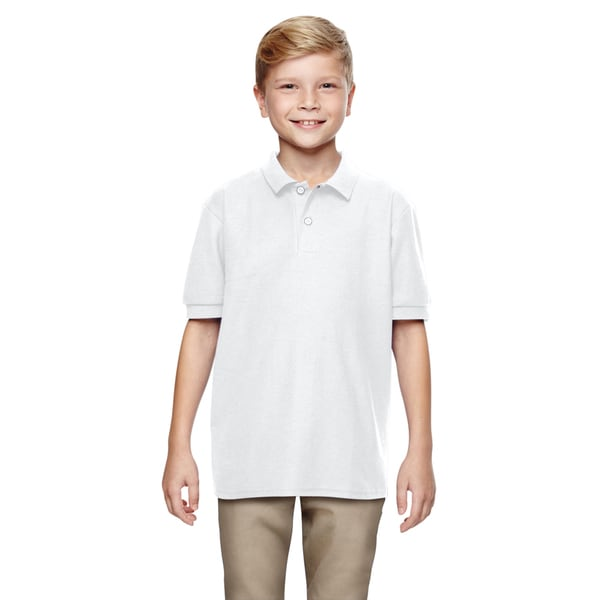 Boys' White Dryblend Double-pique Polo Shirt