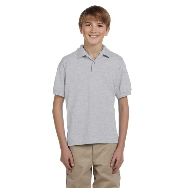 Gildan Dryblend Boys' Ash Grey Jersey Polo Shirt