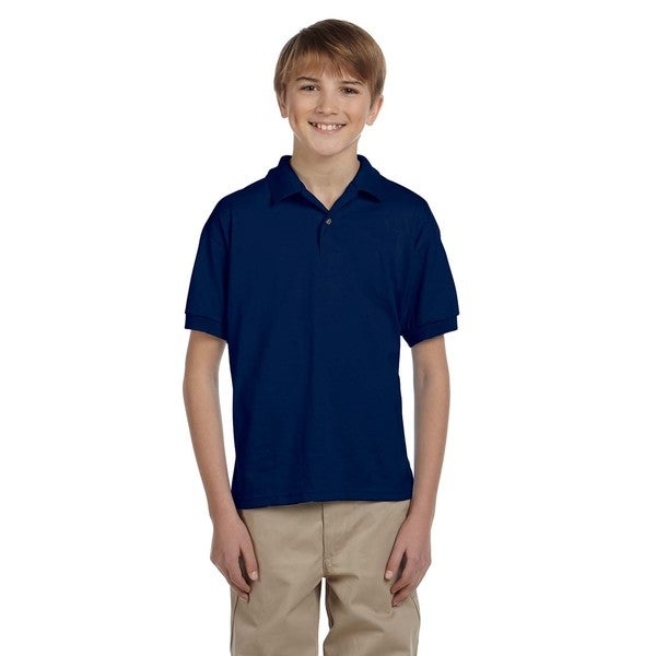 Dryblend Boys' Navy Cotton Jersey Polo Shirt