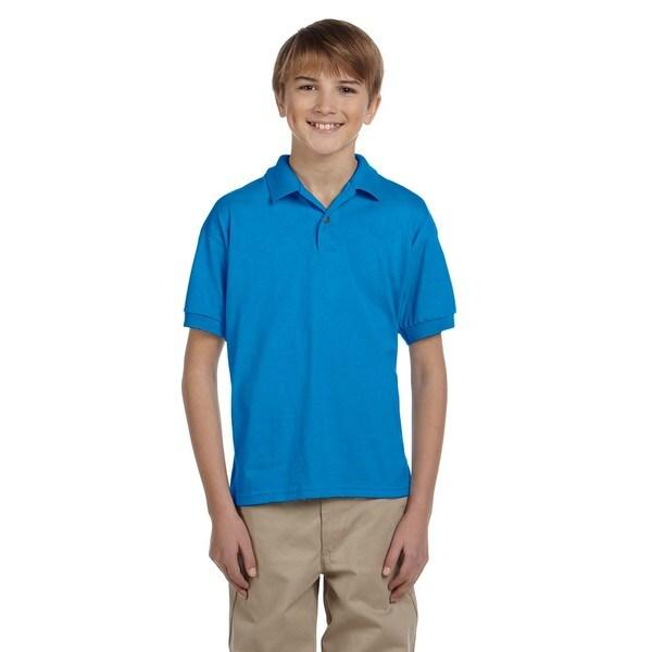 Dryblend Boys' Blue Cotton-blended Jersey Polo Shirt