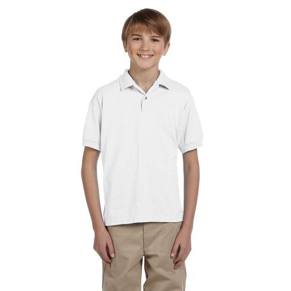 Dryblend Boys' White Jersey Polo Shirt
