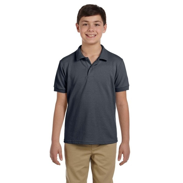 Gildan Charcoal Dryblend Boys' Pique Polo Shirt