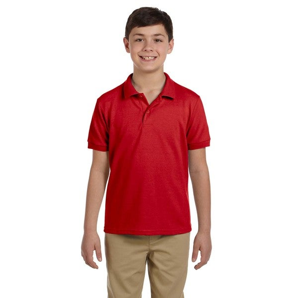 Dryblend Boys' Red Cotton Pique Polo Shirt