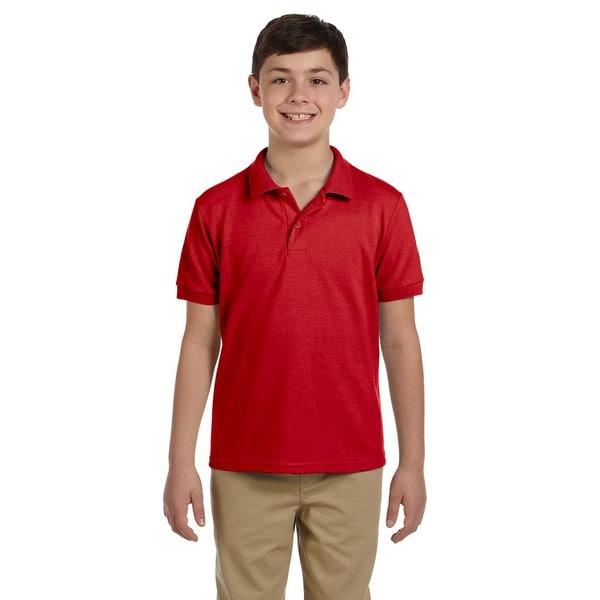 Dryblend Boys' Red Cotton Pique Polo Shirt