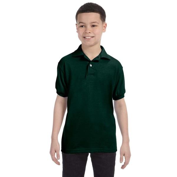 Hanes Boys' Deep Forest Cotton-blend Jersey Polo Shirt