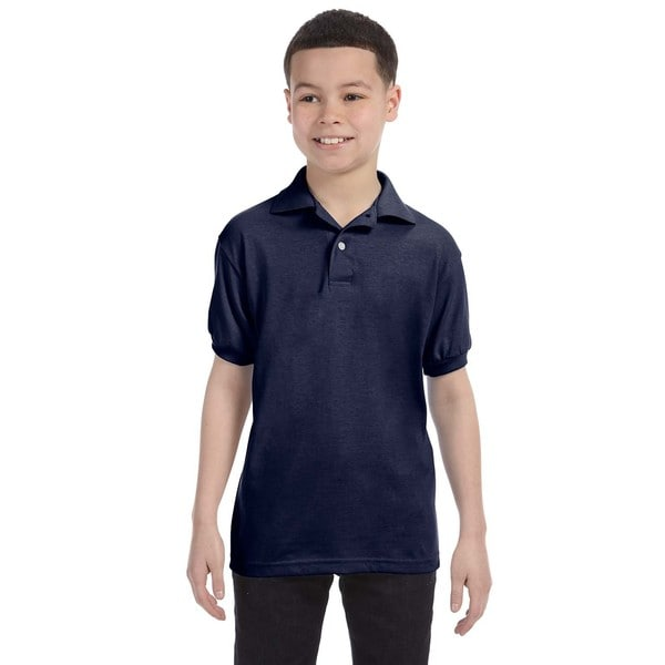 Boys Navy Blue Cotton-blend Jersey Polo Shirt