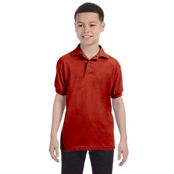 Hanes Boys' Deep Red Cotton-blend Jersey Polo Shirt
