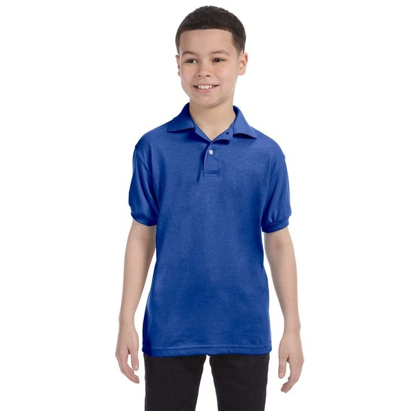 Boys' Deep Royal Cotton Blend Jersey Polo Shirt