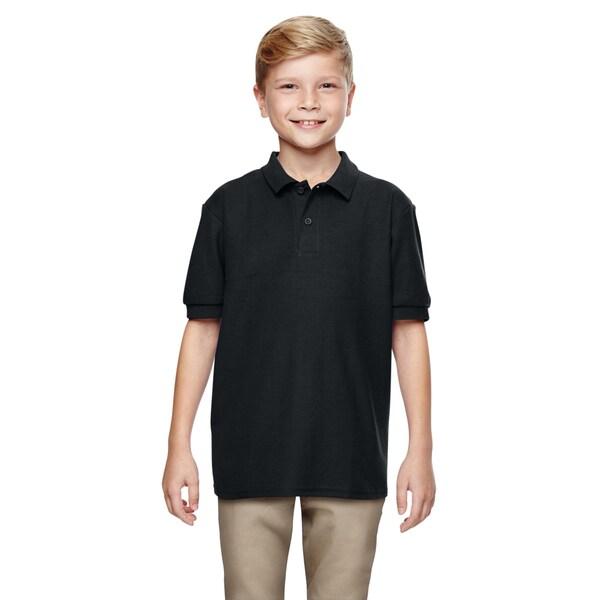 Gildan Boys' Black Polyester Dryblend Double-pique Polo Shirt