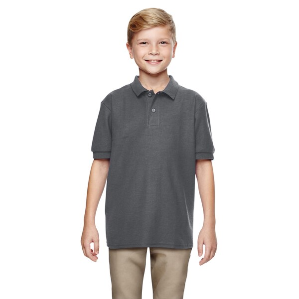 Dryblend Boys' Double Pique Charcoal-colored Cotton Polo Shirt