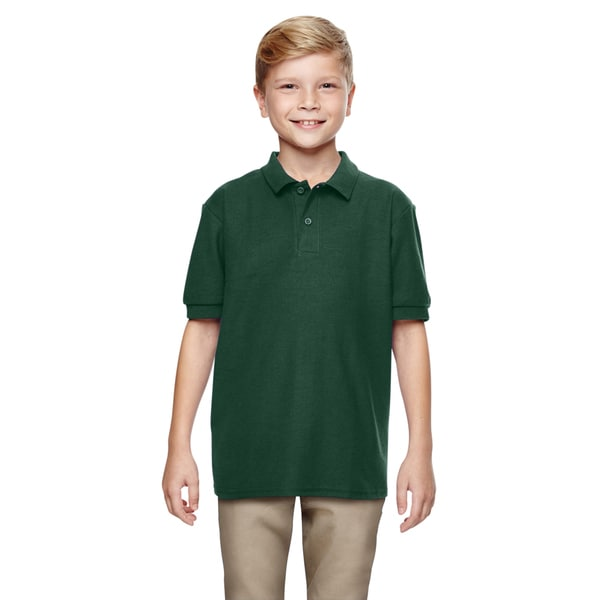 Dryblend Boys' Double Pique Forest Green Polyester Polo Shirt