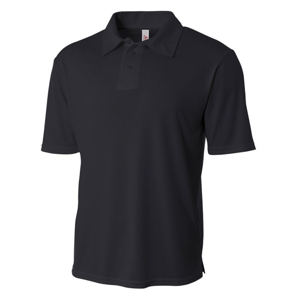 Boys' Black Polyester Circular-knit Performance Polo Shirt 19792233