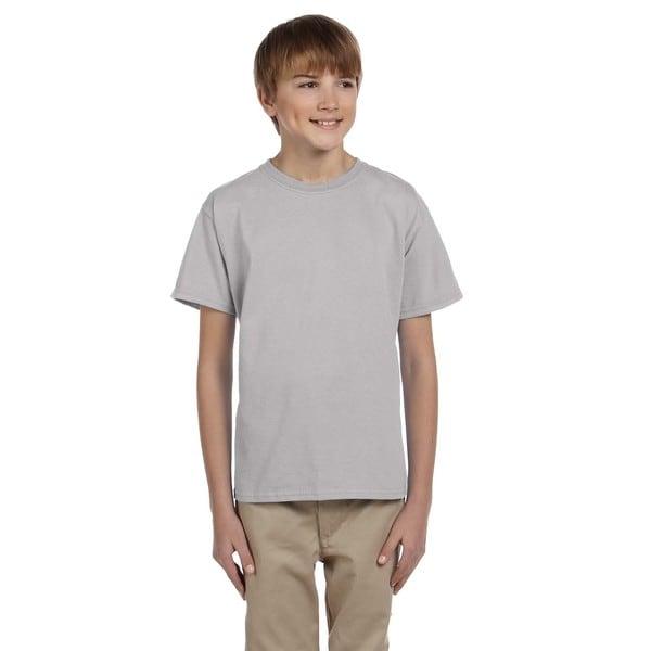 Hanes Comfortblend Boys' Ecosmart Light Steel Grey Cotton Crewneck T-shirt